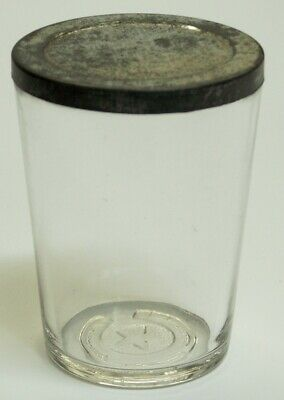 Star Horseshoe Glass Catch Cup & Tin Lid for Antique Coffee Mill Grinder 3 3/4""
