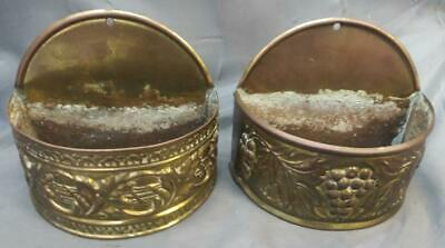 Antique English Pair of Two 2 Wall Pocket Brass Metal Planter Vase Vases Set Old