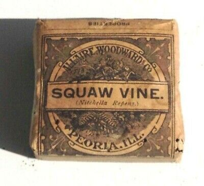 c1890 antique UNUSED SQAW VINE QUACK MEDICINE homeopathic SUPRESS URINE,DROPSY