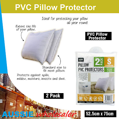 PVC Pillow Protector 52.5cm x 75cm each 2pk White Pillow Covers Zip Closure