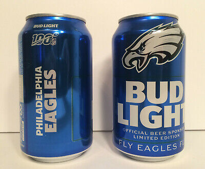 (2) 2019 PHILADELPHIA EAGLES BUD LIGHT LIMITED EDITION 100th YEAR NFL BEER CANS