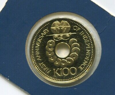1976 Papua New Guinea Gold Proof 100 Kina one hundred Independence  J-878
