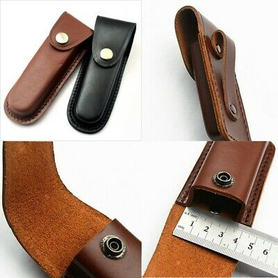 """5"""" Cowhide Leather Sheath Pocket Folding Knife Multi Tool Case Pouch New"""