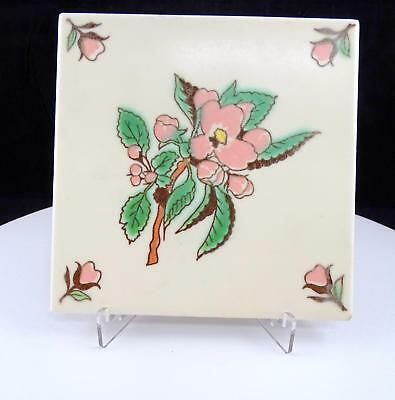 "Vintage Porcelain Square Pink Floral Green Leaves 6"" Tile / Trivet 1900'S"