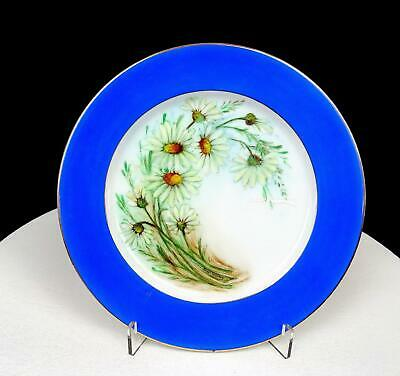 """Narumi China Occupied Japan Artist Signed Daisies And Blue 7 1/2"""" Plate 1946-52"""