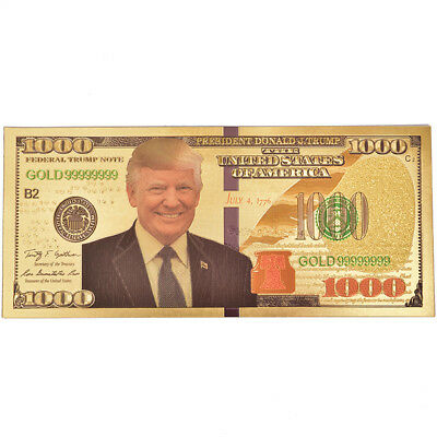 Us President Donald Trump Gold Foil Paper Moeny Non Currency Collection Gift FE
