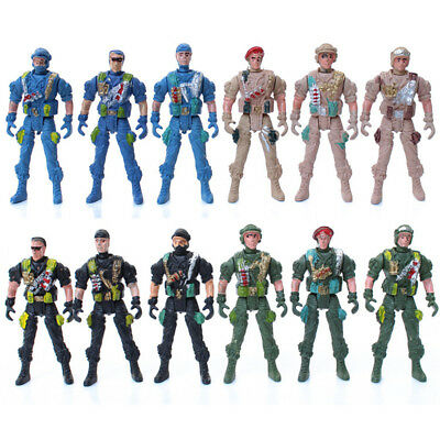 Military Playset Special Force Action Figures Kid Toy Plastic 9Cm Soldier Men FE