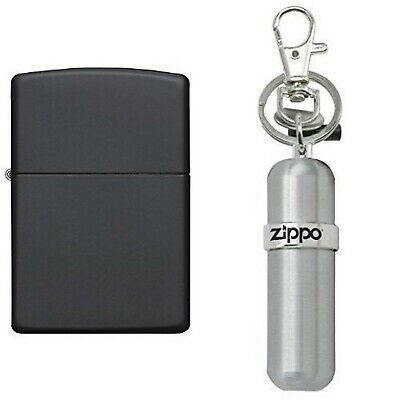 Zippo Matte Lighter, Black with Fuel Canister New