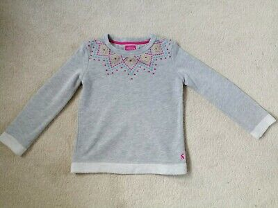 JOULES Girls grey marl cotton jumper/sweatshirt Pink Teal embroidery age 7 yrs