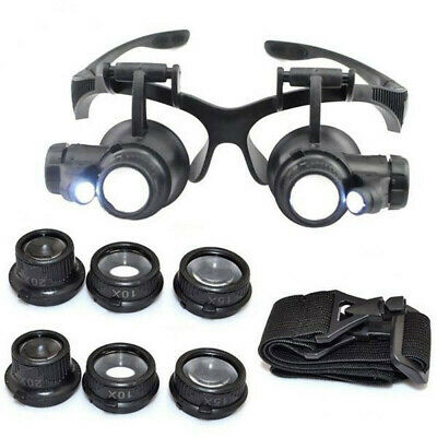 8 Lens 4 Magnifier Magnifying Eye Glass Jeweler Watch Repair Loupe LED Light