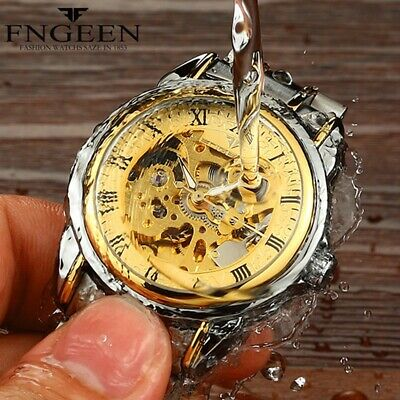 Men's Watches Stainless steel Skeleton Automatic Mechanical Sport Wrist Watch