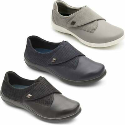 Padders VIOLA Ladies Womens Leather Extra Wide Comfort Shoes Plum 2E//3E