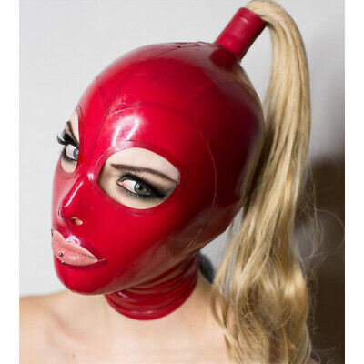 Latex Hood with Blond Pigtail Back Zipper Rubber Mask with Golden Wig Cosplay