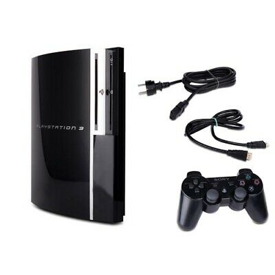 Playstation 3 - PS3 Konsole Fat 80 GB Cechl04 schwarz + alle Kabel + Controller