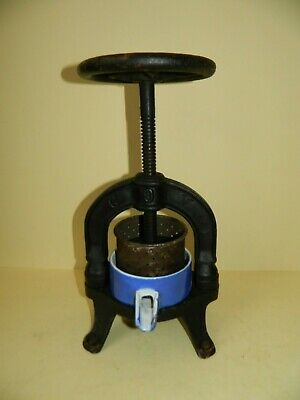 Antique French Cast Iron Fruit Press with Enamelled Dish