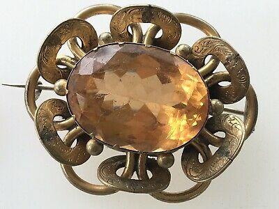 Large chunky Antique Gold Plated Victorian Glass Brooch Scottish Style