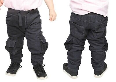 Boys & Baby Boys Grey Cord Trousers Pull On Cotton Corduroys Pants