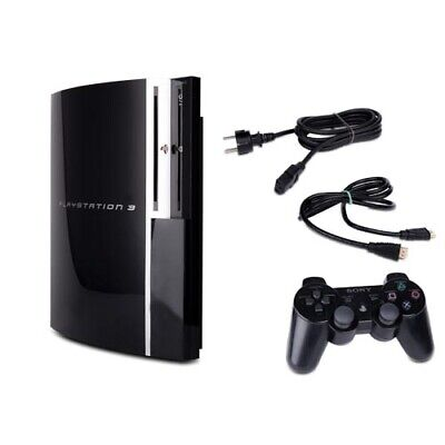 Playstation 3 PS3 Konsole Fat 40 GB Modell Cechg04 schwarz + Kabel + Controller