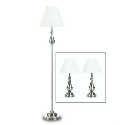 **Clearance 70% Off** 3 Pc Turned High Polish Lamp Trio 1 Floor & 2 Table Lamps