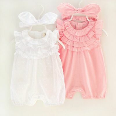 Baby Girl Lace Clothing Rompers With Headband Sleeveless Floral Pattern Jumpsuit