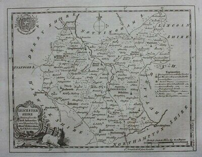 LEICESTERSHIRE original antique county map, Thomas Kitchin, 1786