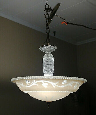 Vintage Art Deco 1930's 3 Light Floral Vine Cut Glass Chandelier Ceiling Fixture