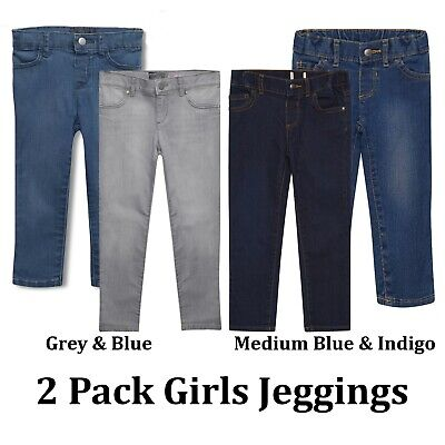 Girls Baby Jeggings Stretchy 2 Pack Jeans  Denim Grey Pants Trousers Legging