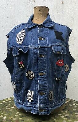 Lee Riders USA Men's Denim Waistcoat With Patches