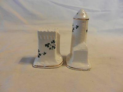 Ceramic Castle Towers Salt & Pepper Shakersfrom Carrigaline Pottery Ireland