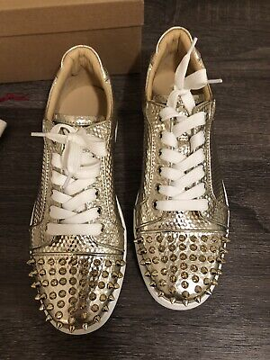 big sale 98d17 14d29 LOUBOUTIN VIEIRA SPIKES Orlato Gold Sneakers New In Box Eur ...