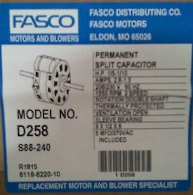 Fasco D258 Double Shaft 2 Speed Fan Coil Motor 1/5-1/10hp 1550 RPM 208/230V NEW!