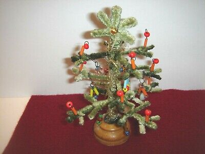 Pipe Cleaner Christmas Trees.Vintage Pipe Cleaner Chenille Christmas Tree Beaded Ornaments Wood Base