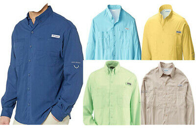 New Columbia PFG Embroidered Tamiami Blue Long Sleeve Button Up Shirt Women/'s XS