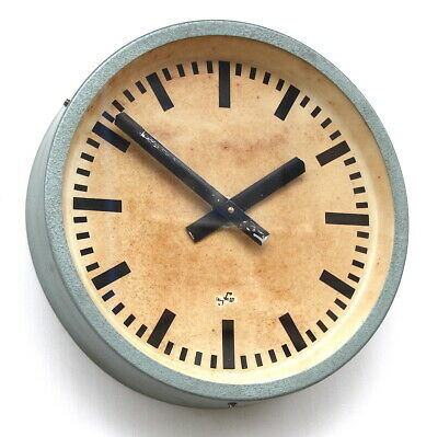 EAST GERMAN1950s Midcentury Factory Retro Vintage Industrial Wall Clock. Dated.