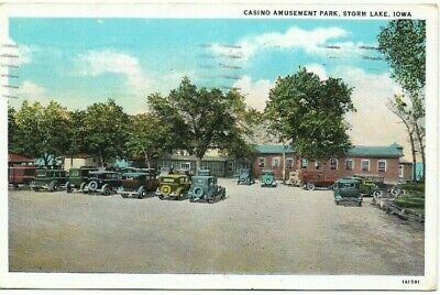 Antique Post Card c.1938 Iowa Storm Lake CASINO AMUSEMENT PARK Autos Cars