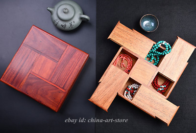 "8.7""Fine Chinese Huali Wood/Red Sandalwood Carving Jewelry Storage Four Open Box"
