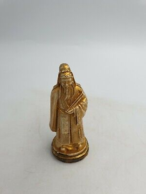Chinese Small Resin Old Wise Man Holding Scroll Figurine Ornament Gold Tone