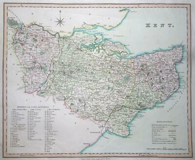 """1831 KENT - Original Antique LARGE COLOURED """"KENT"""" Map by HENRY TEESDALE (LM4)"""