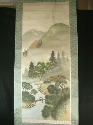 ANTIQUE (c.1920) JAPANESE  SIGNED SCROLL MOUNTAIN RIVER SCENERY