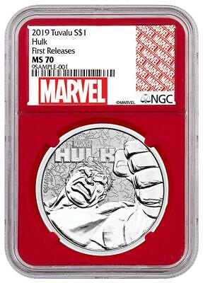 2019 Tuvalu Silver $1 - Marvel Characters - Hulk - MS70 FR - NGC Coin