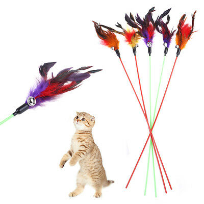 5pcs Cat Play Feather Teaser Small Bell Type Cat Toy Ultra long Rod Pets Toys~GN
