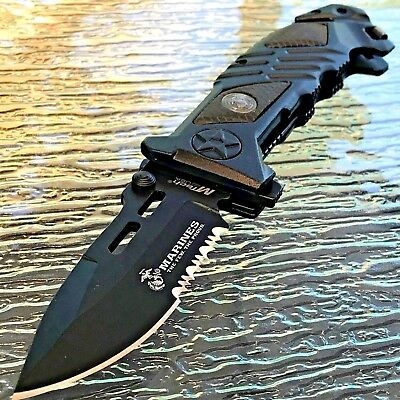 "8.25"" USMC MARINES TACTICAL BLACK SPRING ASSISTED TACTICAL POCKET KNIFE Blade"