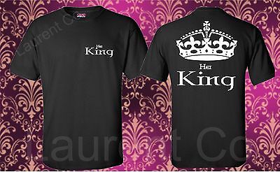 Couple Matching Love T-Shirts Her King And HisQueen His and Hers New Design Tees