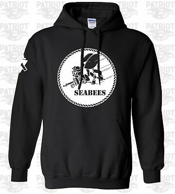 New USN Navy Seabees Hoodie Military T-Shirt Forces Combat We Build We Fight US