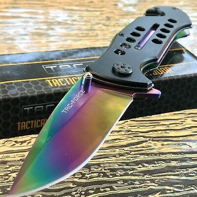"""8.0"""" TAC FORCE SPRING ASSISTED TACTICAL RAINBOW FOLDING POCKET KNIFE Blade Open"""