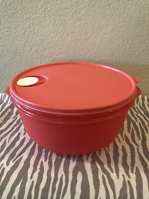 Tupperware Large Crystalwave Microwave Container 4qt w/ Colander Coral New