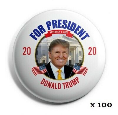 "Trump 2020 Buttons: ""For President - Donald Trump 2020"" - Wholesale Lot of 100"