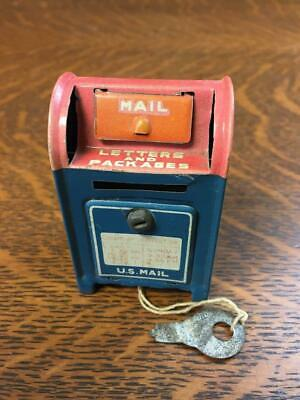 """Vintage 2 3/4"""" Tin U.S. Mail Post Office Mailbox Coin Bank w/ Key Made In Japan"""