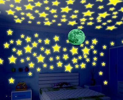Glow In The Dark Stars Moon Wall Sticker Kids Nursery Bedroom Room Ceiling Decor