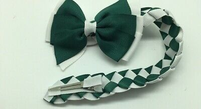 Girl Hair Bow Bun Wrap Girls School Hair Green and White Free Postage UK